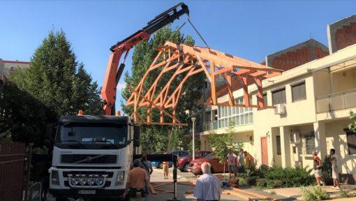 montaj macara șarpantă industrializată acoperis