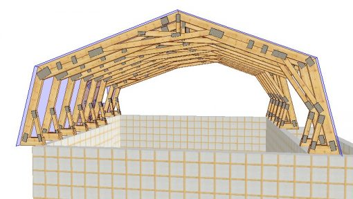 mansarda din lemn grinzi cu montaj in centuri de beton