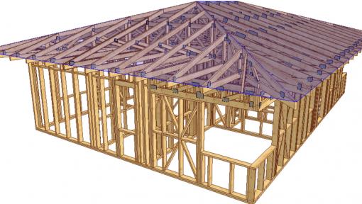 proiect 3d casa structura din lemn asamblata cu placi multicui