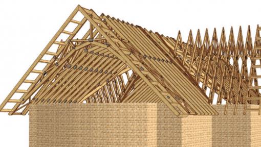 proiect 3d sarpanta din lemn biserica