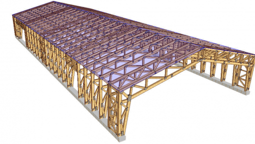 proiect 3d hala din lemn