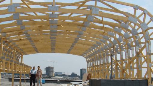 sarpanta ovala prefabricata din lemn asamblata cu placi multicui