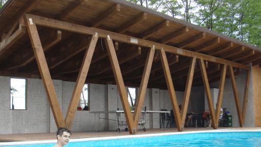 terasa monopanta din grinzi de lemn cu zabrele metalice