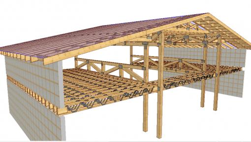 proiect 3d garaj cu grinzi prefabricate din lemn posi-strut