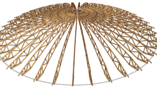 proiect 3d structura manej din lemn prefabricata asamblata cu placi multicui