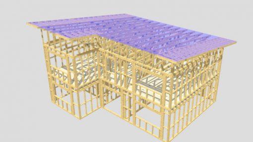 Casa din lemn duplex Mitek Industries Pamir cu sarpanta industrializata