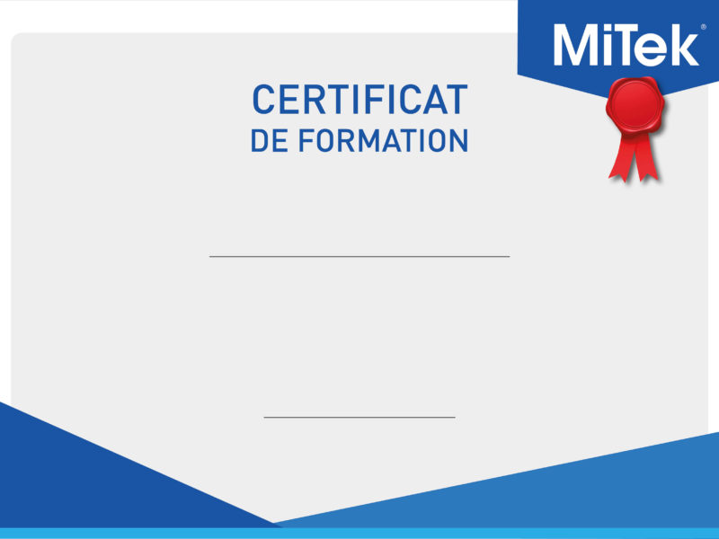 Certificat de formation MiTek